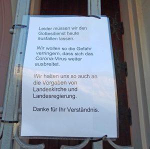Abgesagt: Gottesdienste der evangelischen Kirche